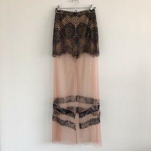 For Love & Lemons Antigua Lace & Mesh Maxi Skirt S